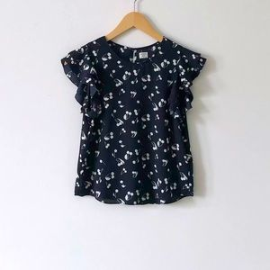 Aritzia Sunday Best O'Hara Navy Cherry Blouse XS